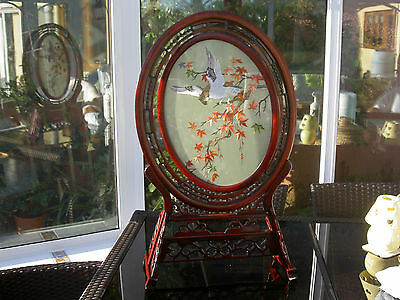 Chinese Embroidered Silk Picture in Glass/Wood Frame (Large)