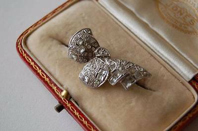 Vintage Sterling Silver brooch with paste stones in Bow design