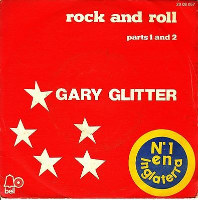 """7"""" GARY GLITTER Rock and Roll parts 1 and 2 SPANISH 45 PS 1972 SINGLE"""