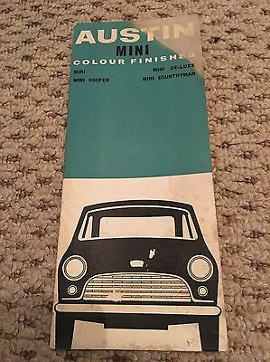 Austin Mini , Cooper , De Luxe , Countryman Colour Finishes Booklet From 1963