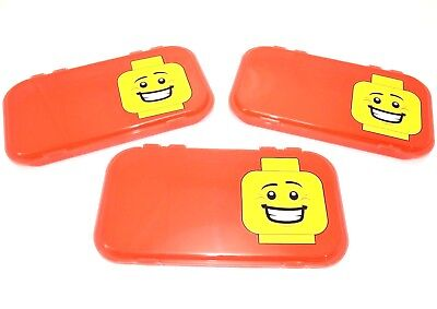 "(3) LEGO MiniFigure RED Storage Case Box Display NEW 11"" x 6"" Plastic FAST SHIP"