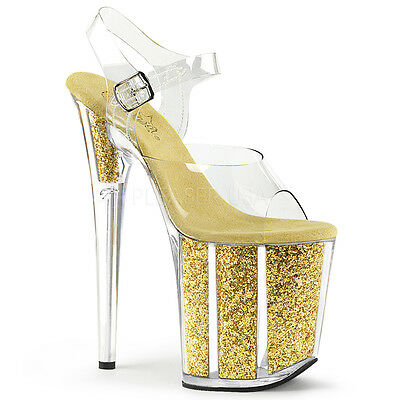 2202a11aeaeb PLEASER Sexy Gold Glitter Filled Platform 8