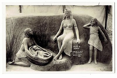 Real Photo Postcard rppc Sand Sculpture The Finding Of Moses~Bournmouth England