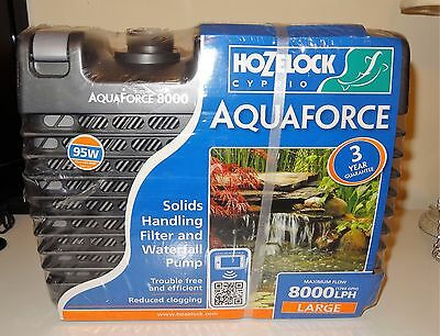 HOZELOCK AQUAFORCE Large 8000 LPH Solids Handling Filter + Waterfall Pond Pump