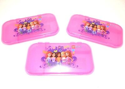 "(3) LEGO MiniFigure FRIENDS Storage Case PINK Plastic Box Clutch NEW 11"" x 6"""