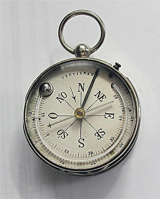 Antique pocket size barometer thermometer, compass, altimeter, nickel case