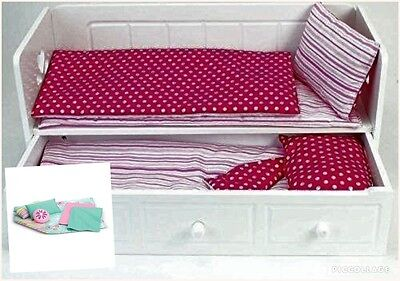 """18"""" Doll White Day Bed Trundle Plus American Girl Dreamy Bedding Set"""