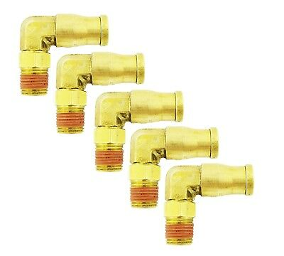 5 pc Push In To Easy Quick Connect Brass Air Male Elbow Fitting 1/4 OD x 1/8 NPT