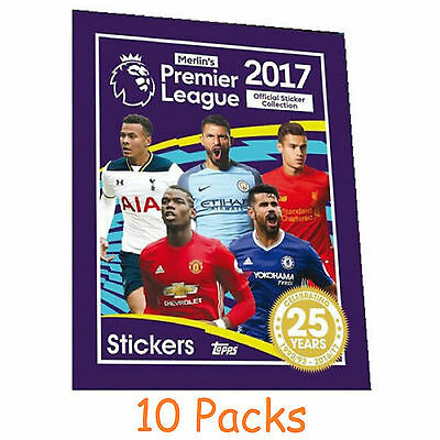Topps Merlin's Premier League Football Stickers 2017 - 10 Packs 2016/17