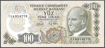 100 turkish lira note, EUROPE TURKEY 1970 uncirculated WORLD MONEY NICE-CURRENCY