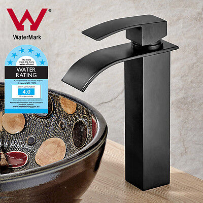 Watermark Black Square Waterfall Bath Basin Mixer Tap Counter Top Faucet Laundry