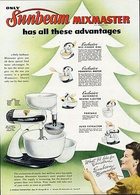 SUNBEAM MIXMASTER Ad from 1947 - with Juice ejector etc Paper Advertisement