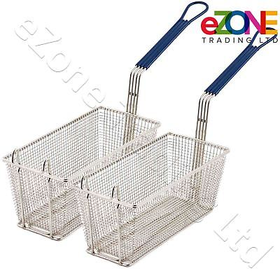 2 Commercial Fryer Frying Basket Chip Fish Deep Fat Takeaway 340x165x150mm
