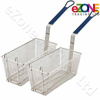 2 Frying Basket for Takeaway Restaurant Chip Fish Fryer Heavy Duty 340x165x150mm