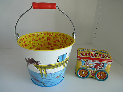 Curious George Lot Pail Bucket w/ Handle 96 & Circus Bank 97 Vintage - Schylling