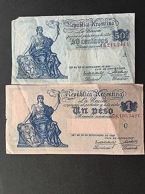 Argentina 50 Centavos 1 Peso P242A P243a Law 1897 Issued 1908 - 1926 Fine