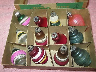 12 Vtg Shiny Brite Glass Christmas Ornaments- Shapes, Bells, Mica - In Box