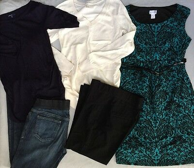 Lot of 5 Maternity Pants Jeans Dress Top Sweater, SMALL. Free PRIORITY Shipping