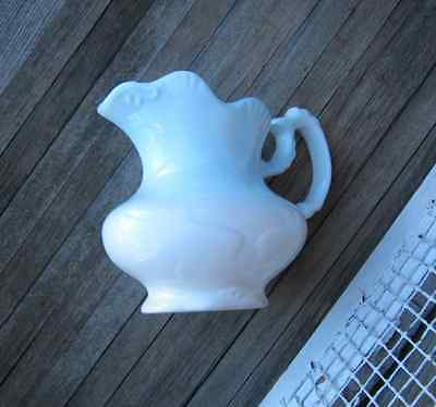 Shabby Chic Vintage White/Light Blue Cream/Water Pitcher; French Country/Farm