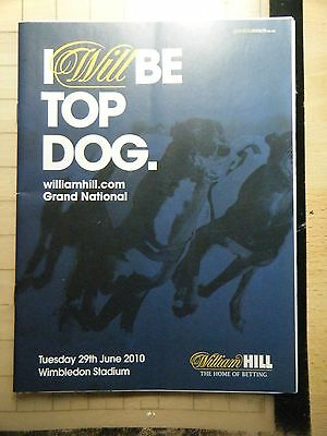 2010 Greyhound Grand National Final Racecard - Wimbledon