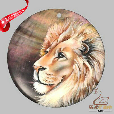 Fashion Necklace Hand Painted Lion Animal Shell Pendant Zp3000218
