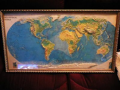 Rand McNally 3-D Geo Physical Relief Wall Map of the World / Framed & Glassed