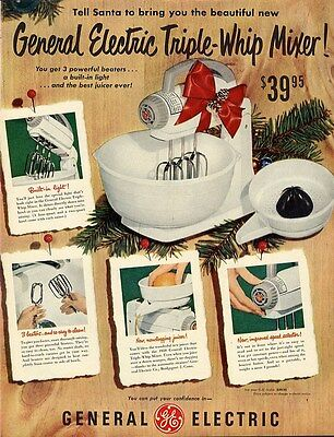 GENERAL ELECTRIC Triple Whip Mixer Ad 1950 - Three Beaters Juicer Advertisement