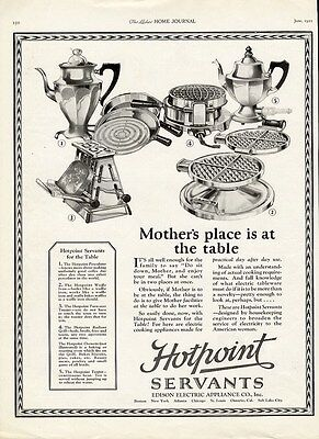 HOTPOINT Appliance Ad 1922 - Toaster WAFFLE IRON Coffee Pot Cooking Pans KITCHEN