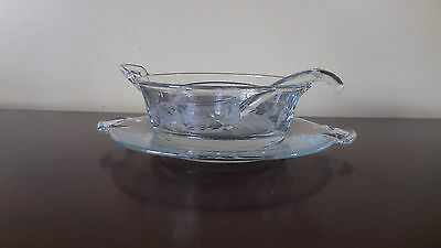 Etched Glass Divided Mayo Dish Bowl with Plate & Spoon