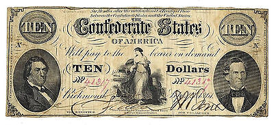 T-25 PF-2 CR-169 1861 Confederate States of America Ten Dollar Note