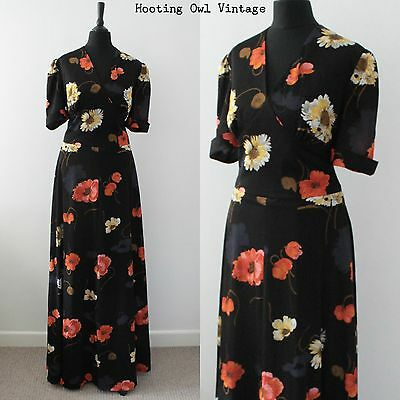 Vintage 1970S Maxi Dress Floral Boho Chic Evening Hippy Bold Patterned 14