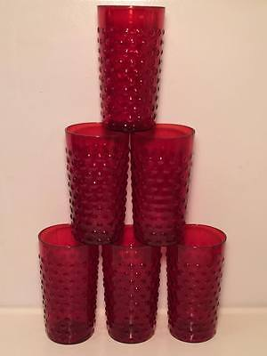 Ruby red anchor hocking glasses hobnail