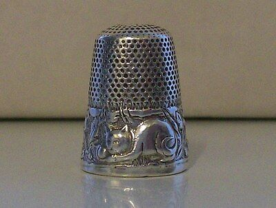 Nicely Decorated Sterling Silver Thimble with Cat Design
