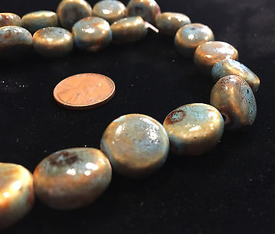 """16"""" Strand 15x8mm Hand-Crafted PORCELAIN DISK BEADS - Blue and Brown - RAKU LOOK"""