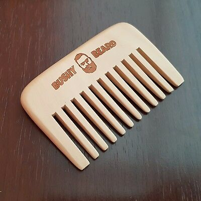 BUSHY BEARD - Moustache - WIDE TOOTH Wooden Hair Comb Mens Grooming Christmas