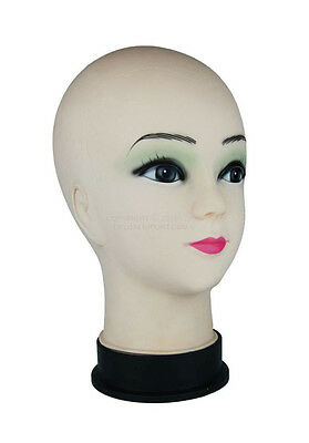 Female Cosmetology Bald Mannequin Head for Training, Wig, Hat, Model, Costume..