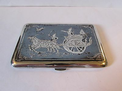 Large Vintage Solid Silver Siam cigarette case with Chariot scene