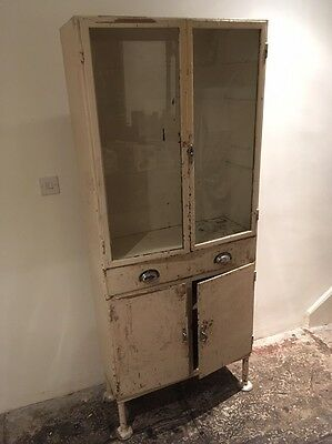 Vintage Retro Metal Medical Cabinet/ Display/ Apothecary/industrial/shabby