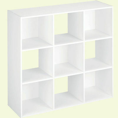 9-Cube Storage Cabinet Wall Decor Home Shelf Organizer Shelving Cubeicals White