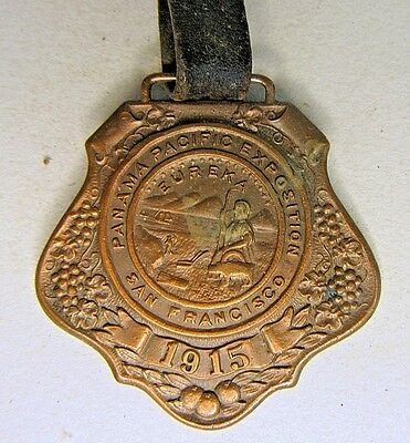 1915 PANAMA PACIFIC INTERNATIONAL EXPOSITION PPIE  original watch fob & strap