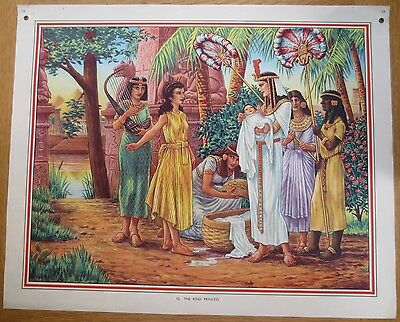 1950'S VINTAGE CLASSROOM POSTER The Kind Princess Moses Bible Story Macmillans