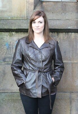 Vintage 1970s Brown REAL Leather Belted fitted panelled Jacket Coat Blazer 14-16