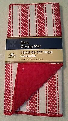"Home Collection 12"" x 18"" Microfiber Dish Drying Mat. New! Red & White."