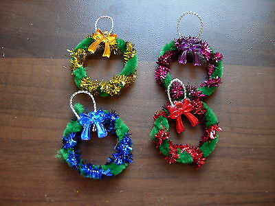 1/12Th Scale Dolls House Set Of 4 Door Wreaths  Handmade Christmas New
