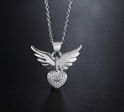0Quality 925 Sterling Silver Angel Wing Heart Crystal Gem Pendant Necklace UK