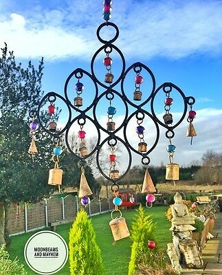 Enchanting New Rainbow Bead And Bells Chimes Boho Hippie Festival Mobile Decor