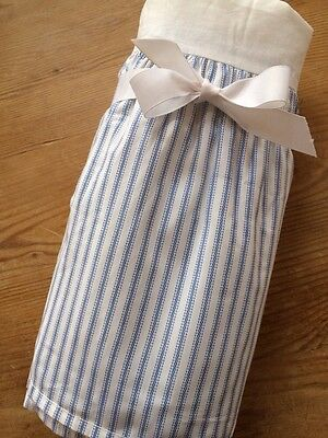 Pottery Barn Kids Blue and White Ticking Stripe Crib Skirt NWT