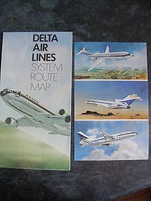 Delta Airlines route system map and postcard