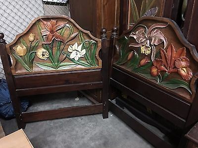 Complete bedroom set with two twin beds hand carved  from Costa Rica.