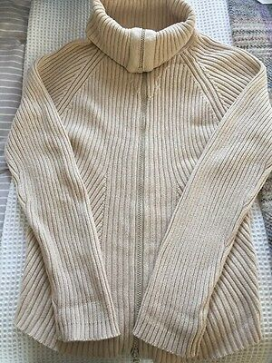 Formes Maternity Cotton Long Cream Zip Up Cardigan Size 2 (M / 10-12)